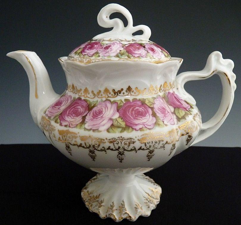 prussia porcelain erdmann schlegelmilch turn of 20th century chintz teapots etc. Black Bedroom Furniture Sets. Home Design Ideas