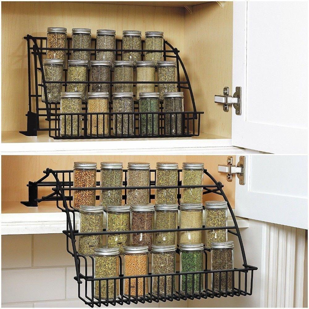 Spice Rack Kitchen Storage Organizer Pull-Down Design Black Coated Steel