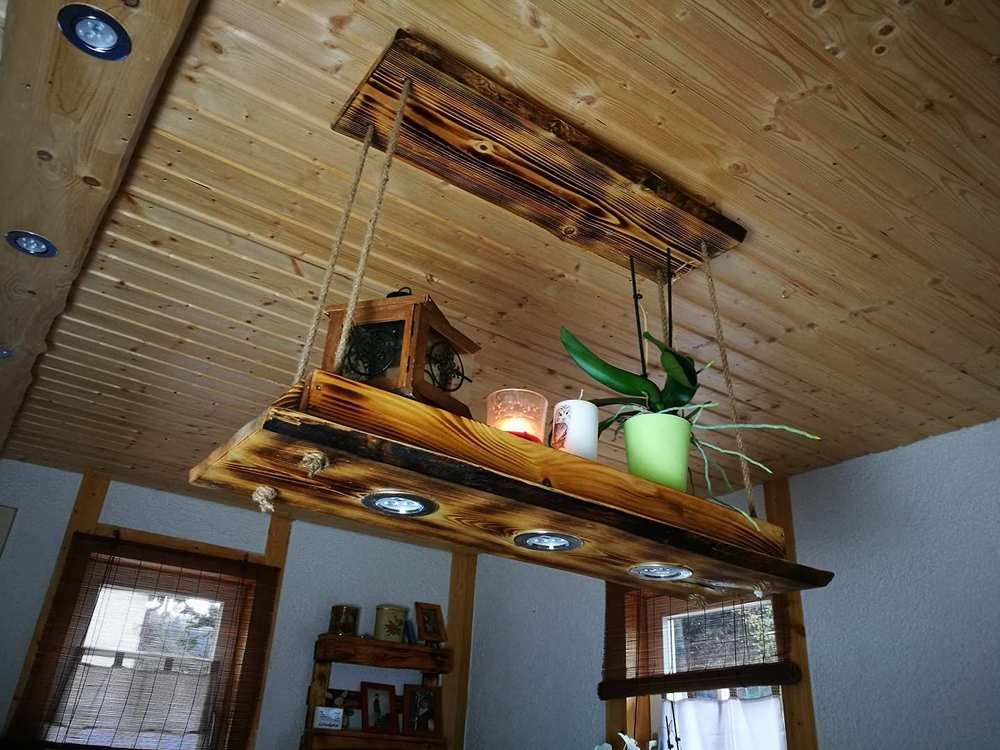 Deckenlampe Tanne Holz Rustikal Geflammt Hangelampe Shabby