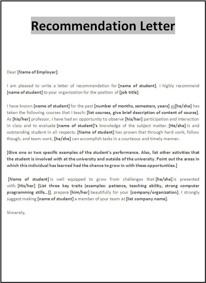 Examples Of Letter Of Recommendation Templatecaptureprojects - character letter templates