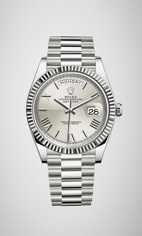 066b97a4427 Rolex Day-Date 40 in 18ct white gold with a fluted bezel