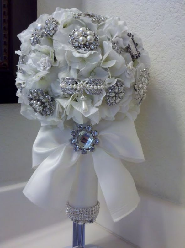 Finally Finished My Brooch Bouquet Wedding Handle Holder Diy Flowers Ivory Silver White Mybouquet