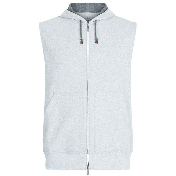 Brunello Cucinelli Zip-Up Hooded Vest ($610) ❤ liked on Polyvore featuring men's fashion, men's clothing, men's outerwear, men's vests, mens zip up vest, mens hooded vest, mens sleeveless vest, mens vest outerwear and mens vest