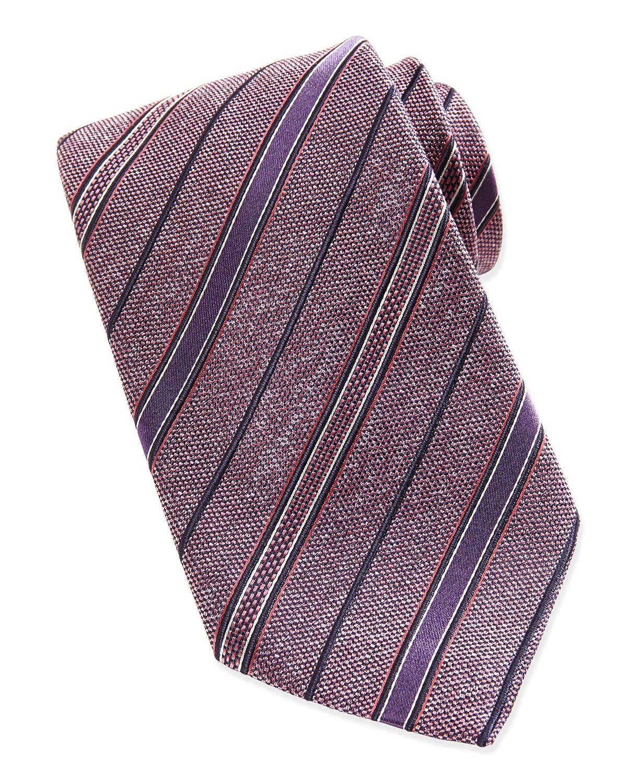 Chambray Stripe Melange Tie, Pink