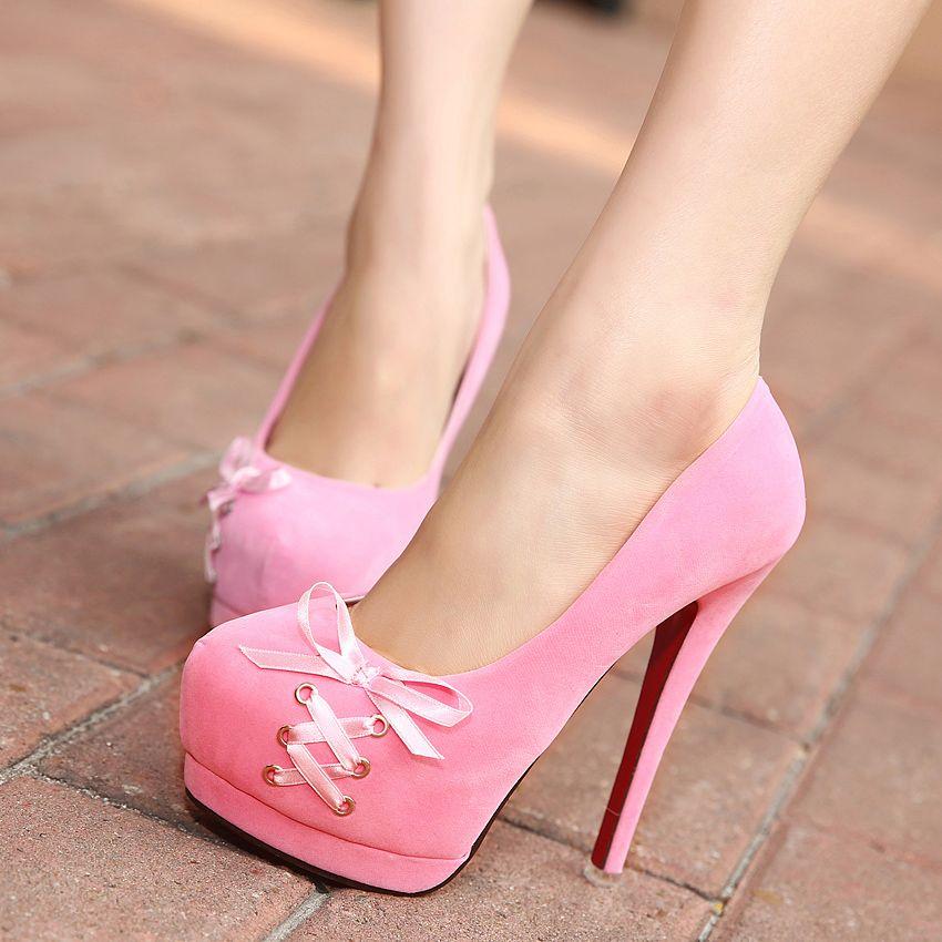 5537576328 women shoes 2014 pumps Spring bow ribbon velvet platform high-heeled ...
