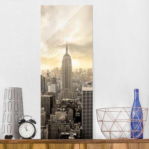 Glasbild - #Manhattan Dawn - Panorama Hoch #Glasbild #Glasbilder - glasbilder für die küche