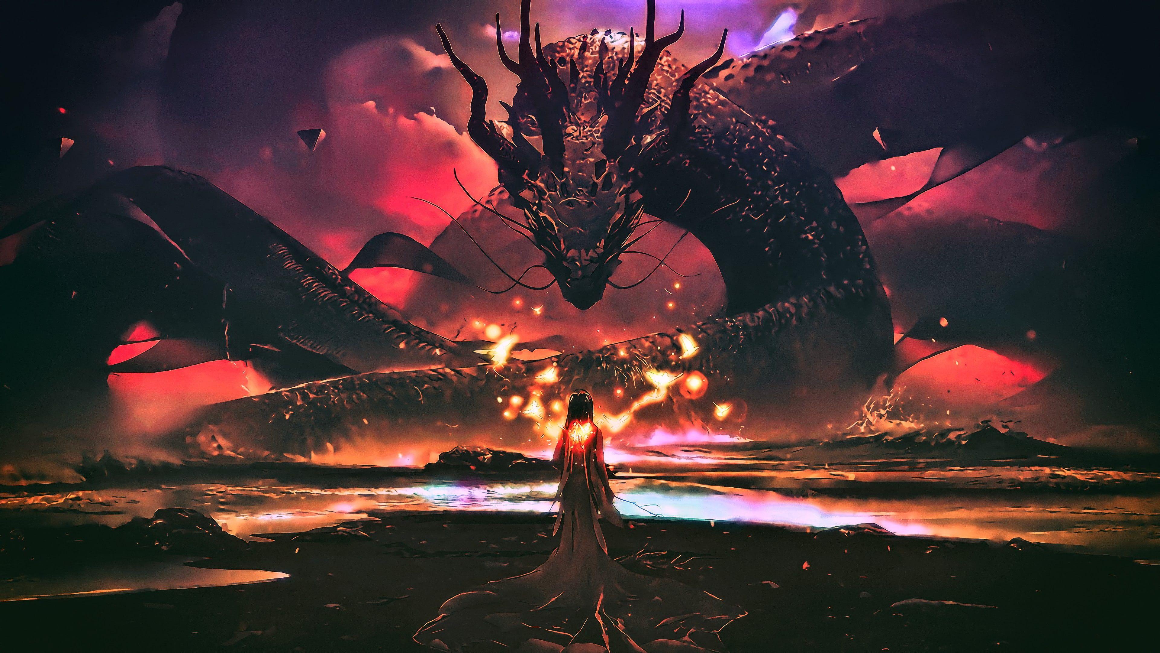 Dragon Darkness Digital Art Sky Woman Dragon Art Heat Art Artwork Fantasy Art Imagination 4k Wa 3840x2160 Wallpaper Goddess Artwork Digital Wallpaper