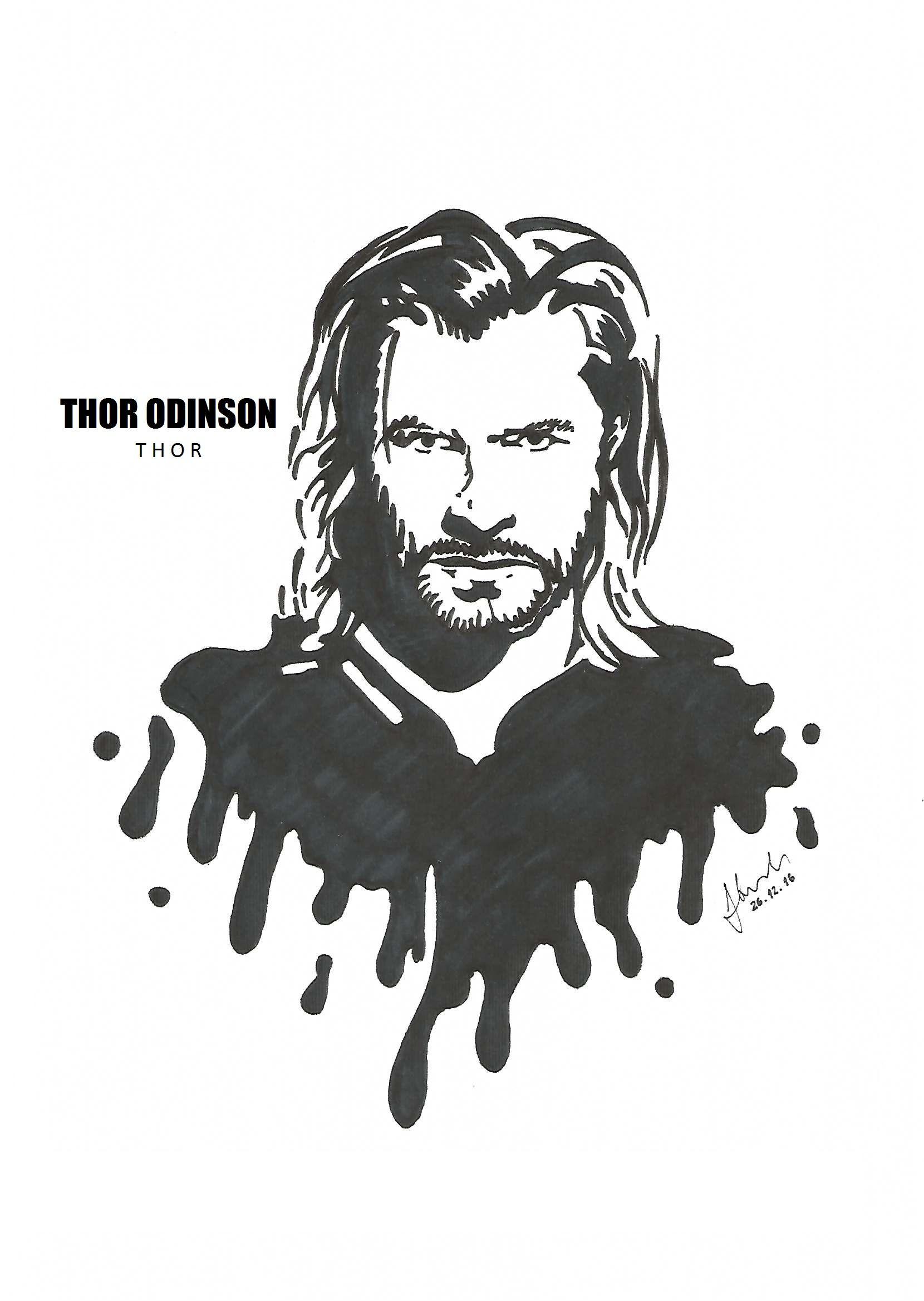 Thor odinson chris hemsworth drawing blackandwhite