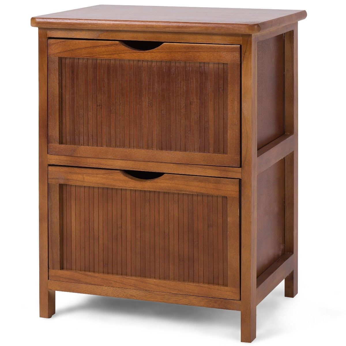 Costway 2 Drawers Nightstand Contemporary Vintage Bedside