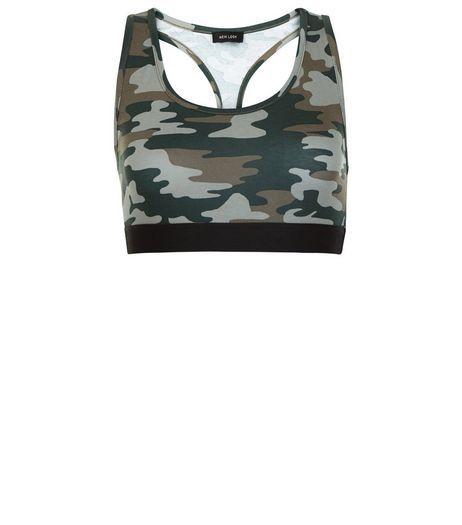 16939acc336 Green Camo Print Sports Crop Top | New Look | Fancy Dress - Bey ...