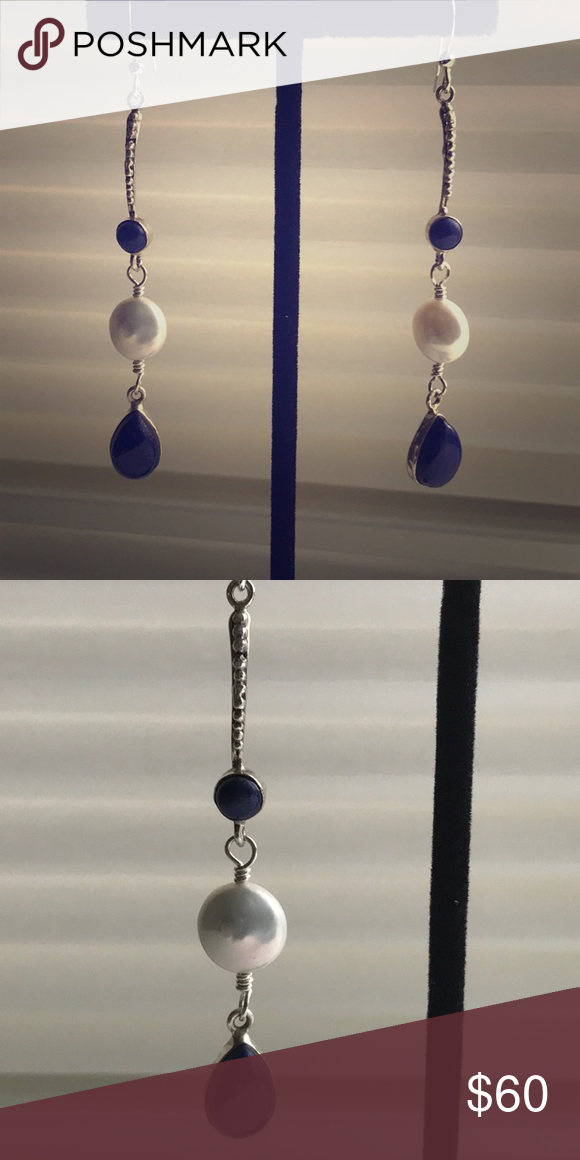 1966142ad Lapis and freshwater pearl earrings Lapis lazuli and freshwater pearls  suspended on sterling silver Bali ear wires. Triple threat shoulder dusters  for the ...