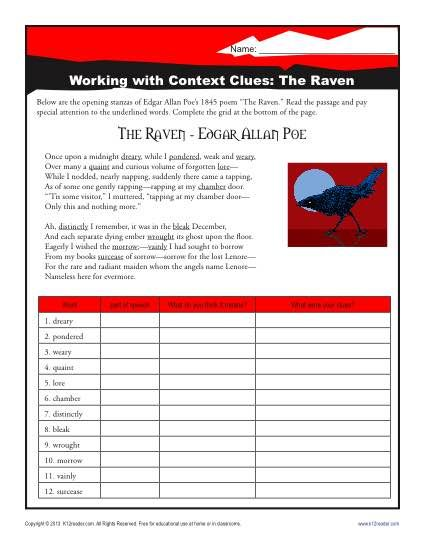 The Raven With Images Context Clues Middle School Writing