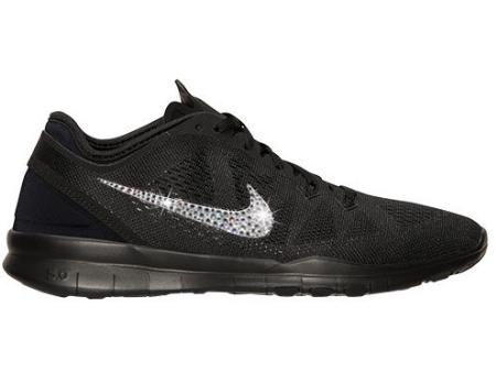 56caaafde841 Women s Nike Free 5.0 TR Fit 5 Training Shoes - Black w Black Nike logo  made w Swarovski Crystal
