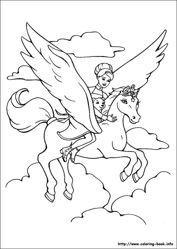 Annika And Brietta And Shiver In The Clouds Coloring Page From Barbie And The Magic Of Pega Unicorn Coloring Pages Horse Coloring Pages Princess Coloring Pages