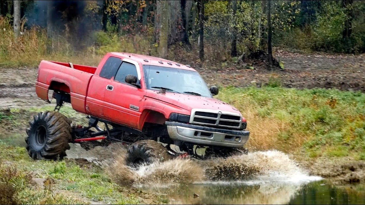 Red Monster Mega Truck Diesel Dodge Mega Ram Mudding Diesel Trucks