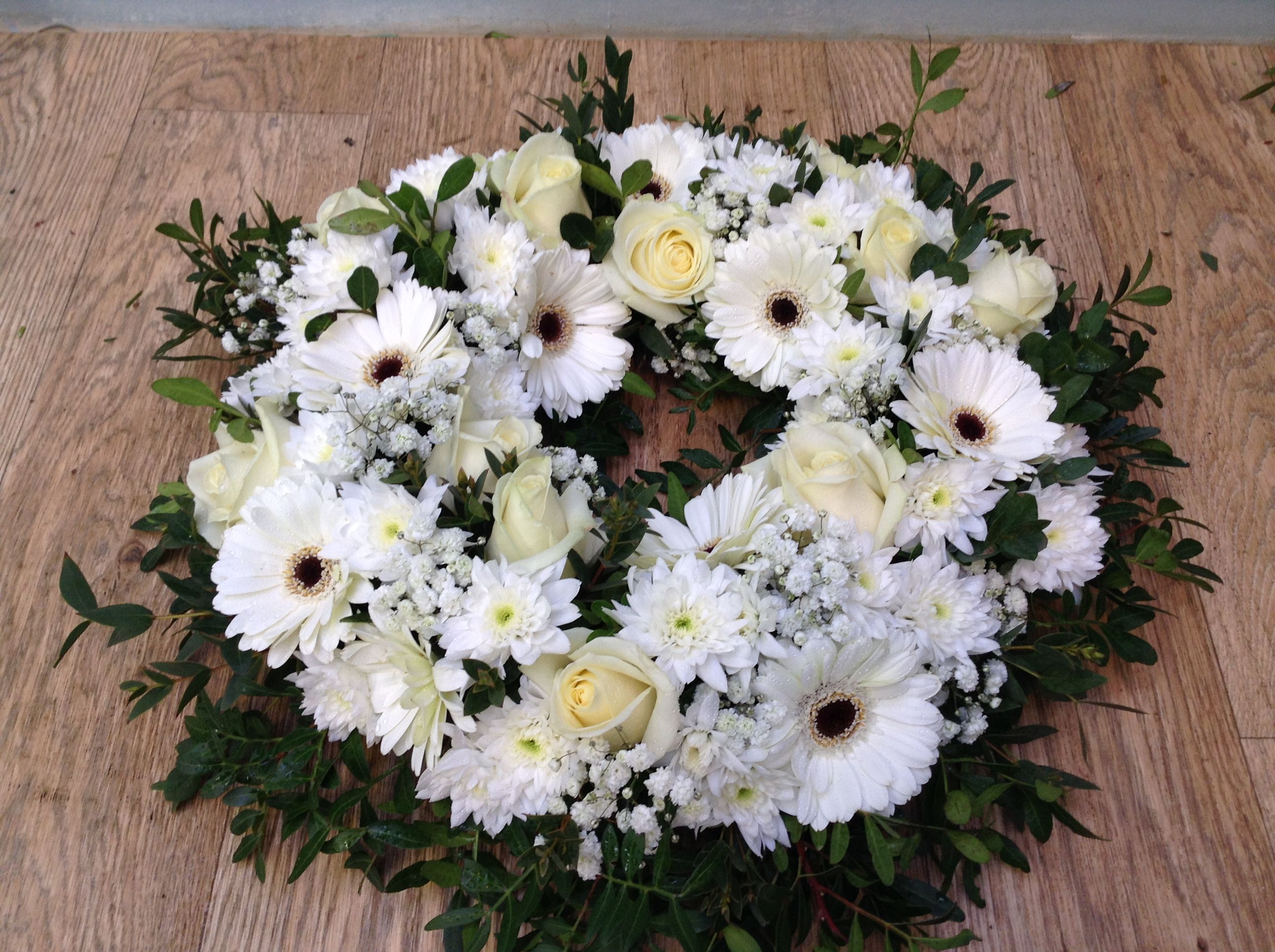 White And Green Funeral Wreath Funeral Flowers Pinterest Green