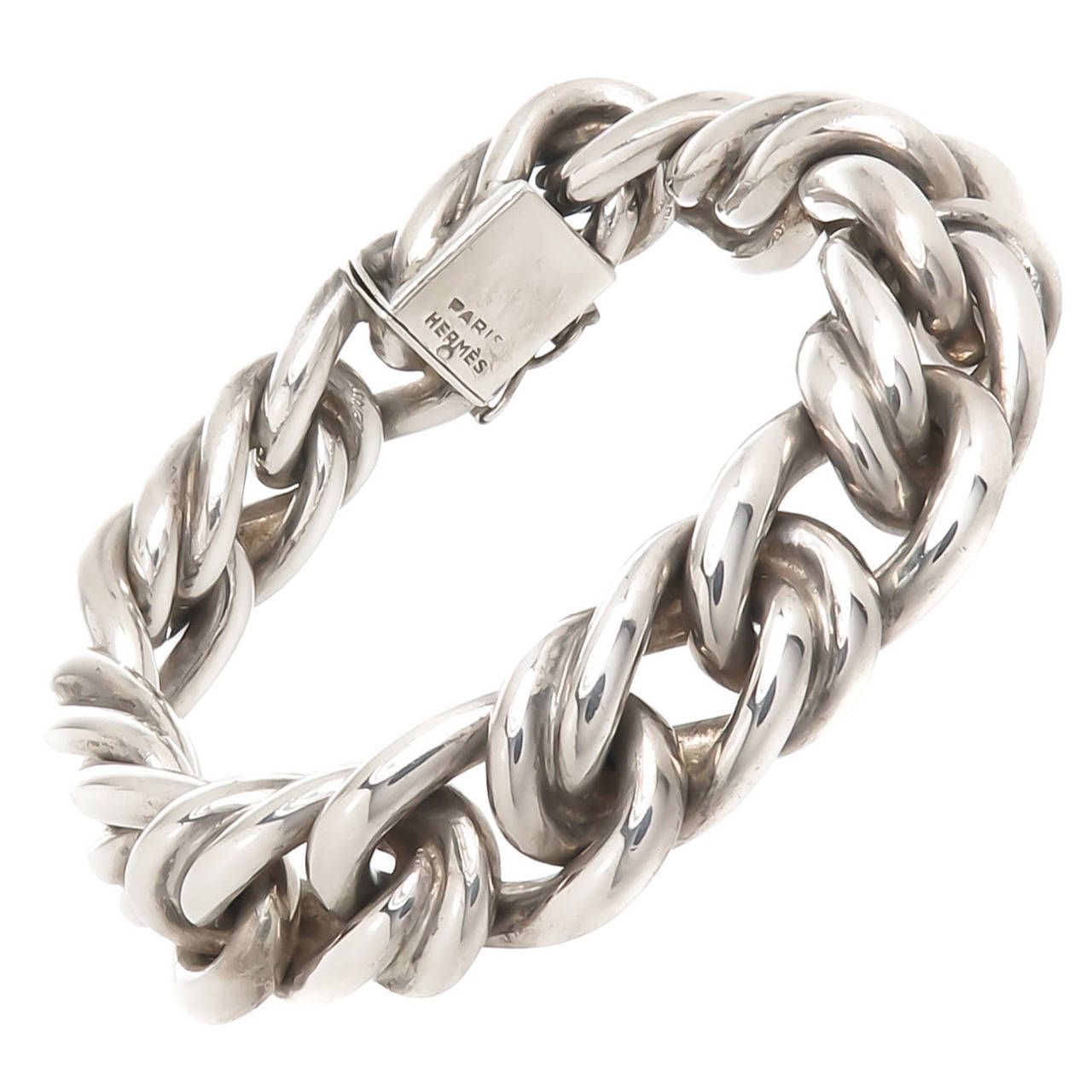 hermes paris solid heavy silver link bracelet schmuckst ck und schmuck. Black Bedroom Furniture Sets. Home Design Ideas
