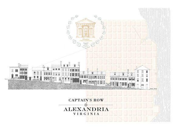 ALEXANDRIA Captains Row Postcard via Etsy