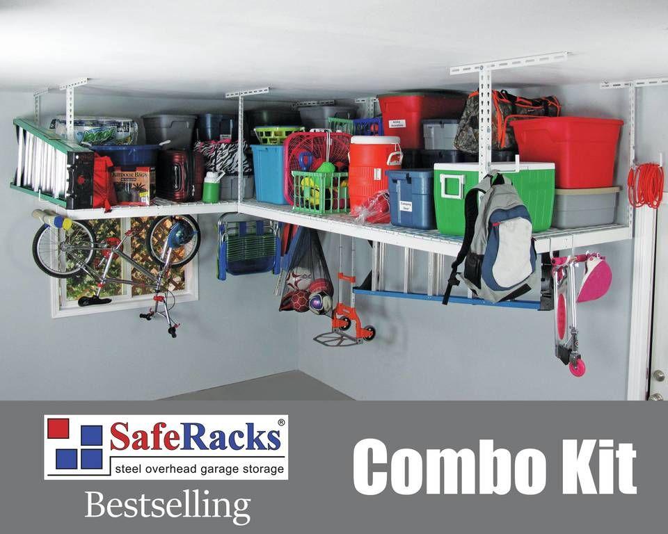 SafeRacks Overhead Garage Storage Combo Kit, Two 4 ft. x 8 ft. Racks ...