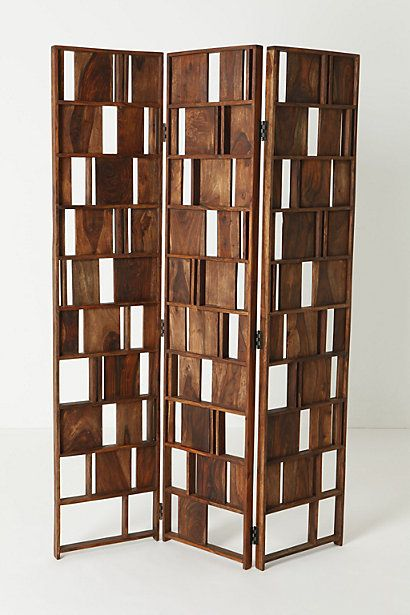 3 Panel Solid Wood Screen Room Divider Blinds Shades: Furniture, Decor, Room Divider Screen