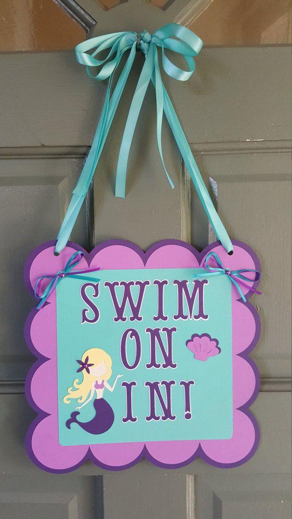 Mermaid door sign - Under the sea door sign - mermaid sign - under the sea sign - under the sea party decor - mermaid party decor