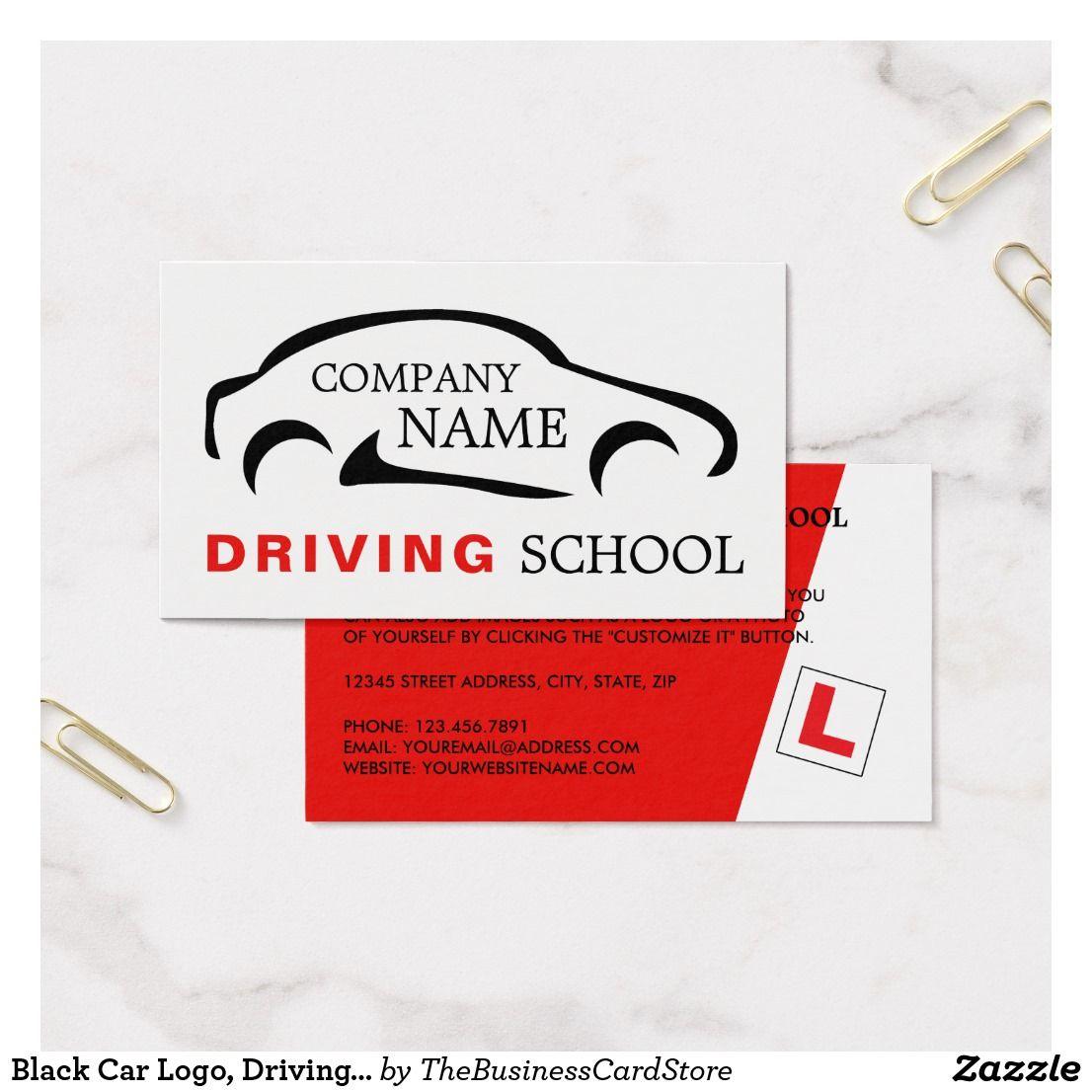 Black Car Logo Driving School Instructor Business Card Zazzle Com Black Car Car Logos Driving School
