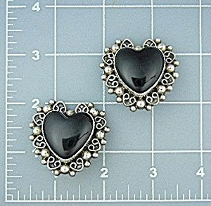 Taxco Mexico Sterling Silver Onyx Heart Earrings Carsi Taxco Mexico Sterling Silver Onyx Heart Clip Earrings Carsi TC-57 925.