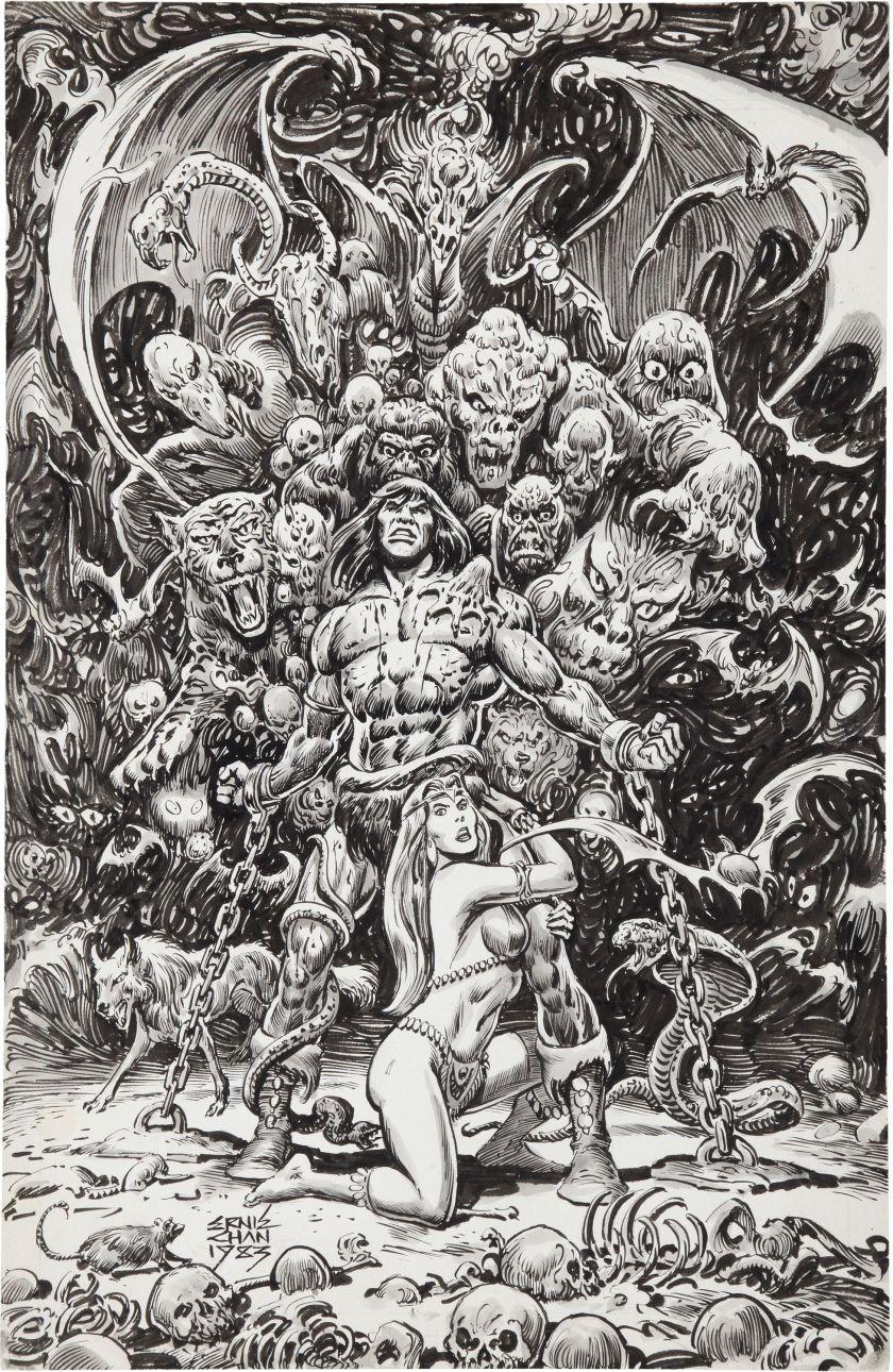 1983 - Savage Sword of Conan #94 Splash Page by Ernie Chan