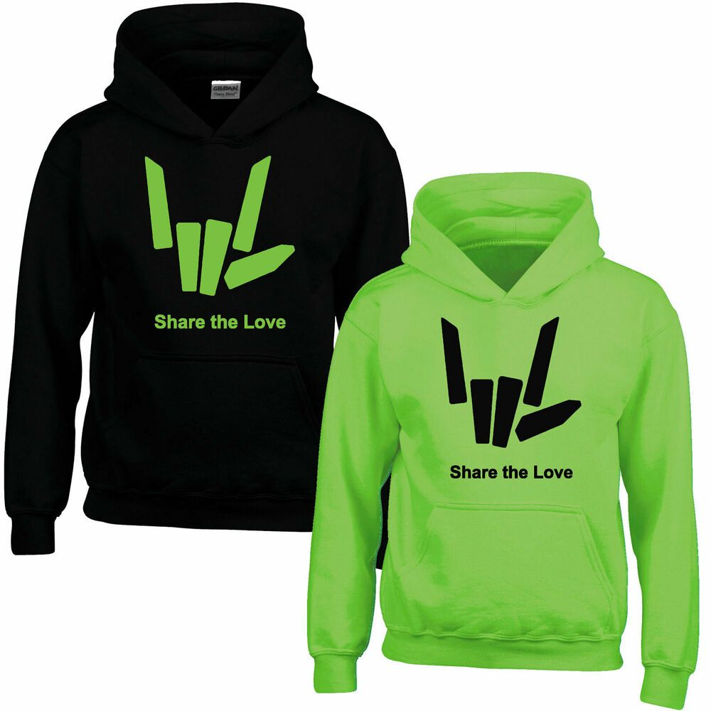 Share The Youtuber Love GREEN Girls Boys Kids Hoodie