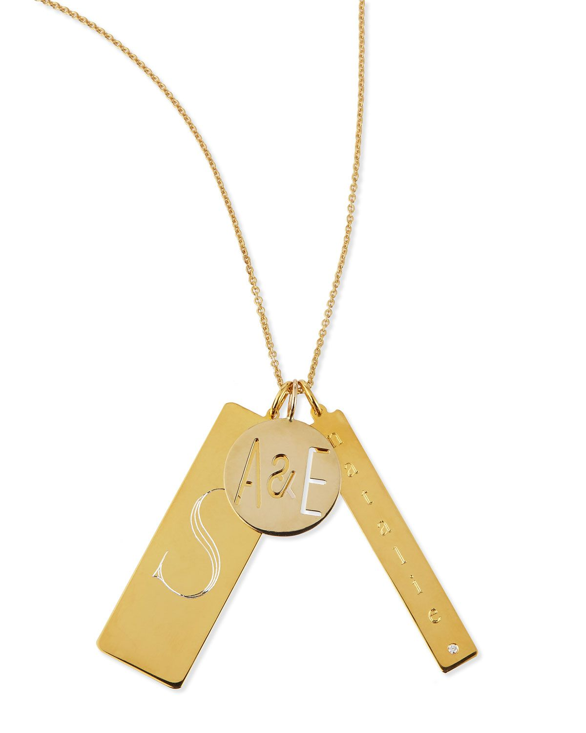 K gold plated edie pendant necklace with personalized monogram