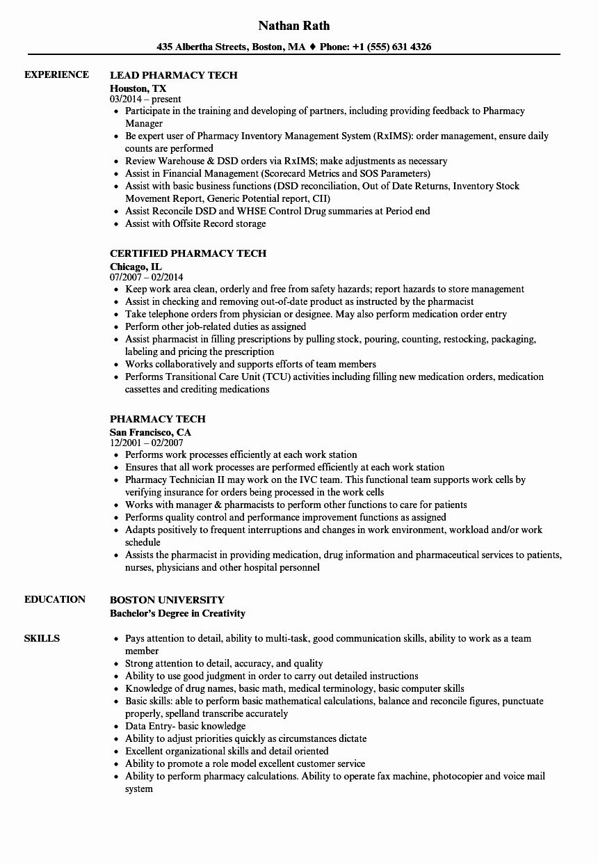 Pharmacy Tech Resume Samples Inspirational Pharmacy Tech