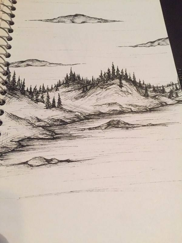 A Landscape I Did A While Ago With My Microns Check Out My Instagram His Legacy Drawings Landscape Pencil Drawings Landscape Drawings Nature Sketch