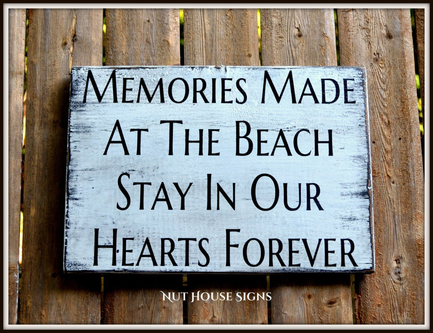 Great Beach Sign Unique Beach Decor Wall Art Rustic Distressed Reclaimed Signs  Beach Lover Life Memories Quotes Sayings