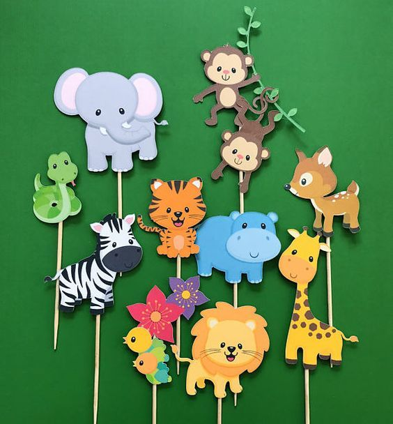 Jungle animals cupcake toppers, zoo animals toppers, wild animals toppers, jungle gym, monkey topper