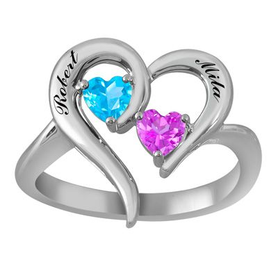 Zales Couples 4.0mm Heart-Shaped Birthstone and Beaded Infinity Ring (2 Stones and Names) bKdBlus
