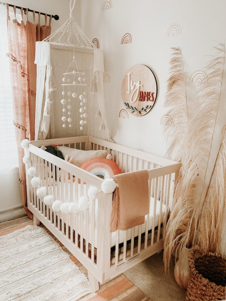 Boho Baby Nursery in 2020 | Boho baby girl nursery, Boho baby girl