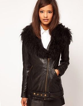 Rotating Bow Tie Watch at ASOS | Leather biker jackets and Fur collars