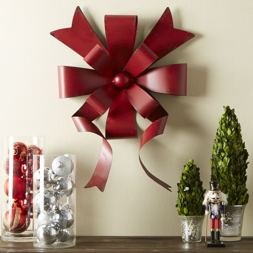 Christmas Ribbon Bows Vintage Metal Hanging Wall Decor