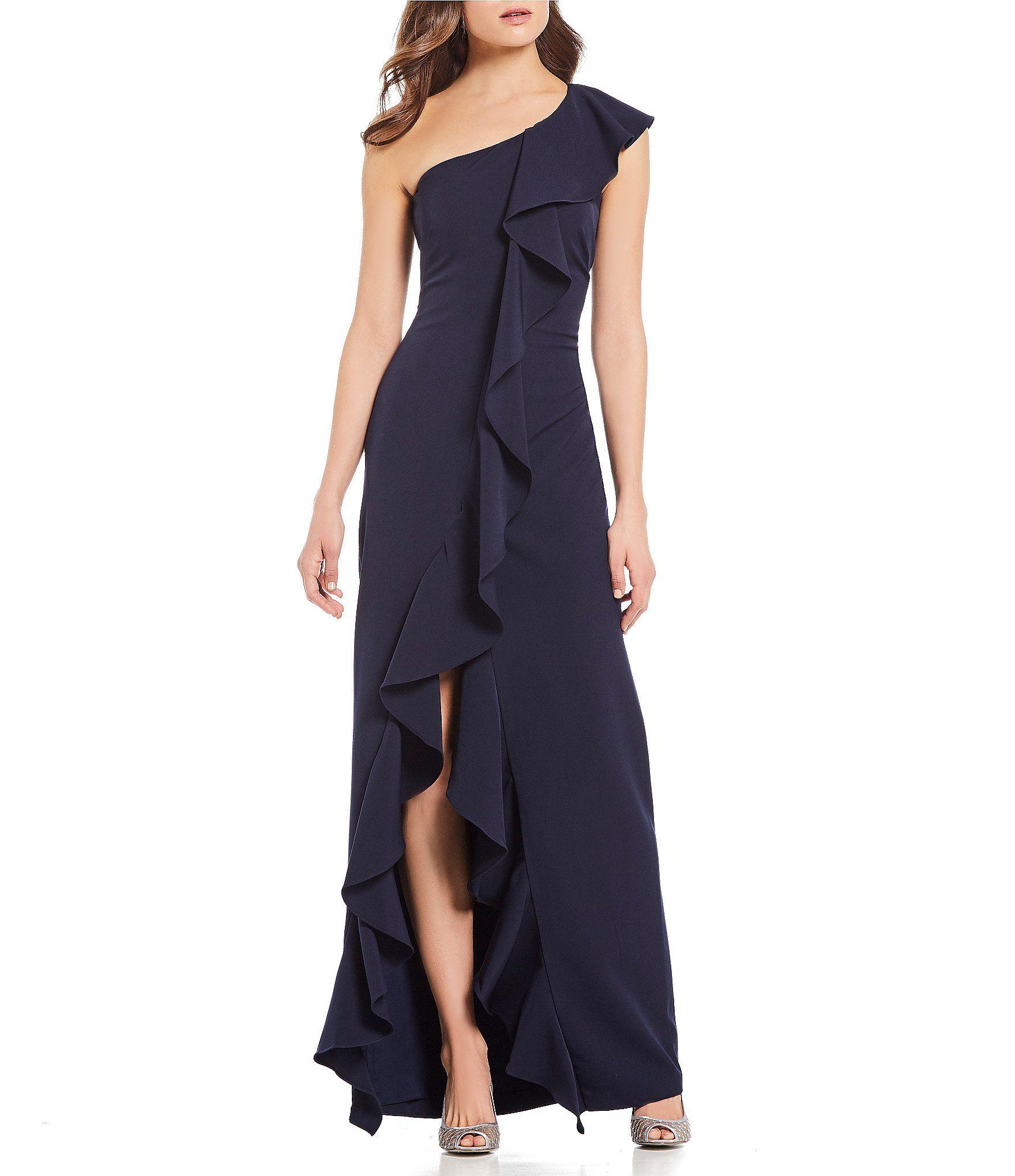 Eliza J One Shoulder Ruffle Gown Dillard S Evening Gown Dresses Women Wedding Guest Dresses Gowns [ 2040 x 1760 Pixel ]