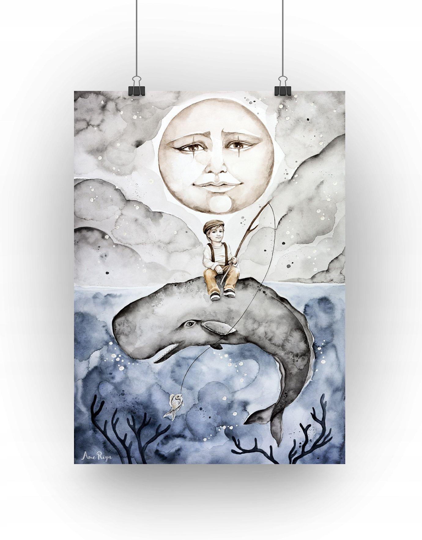 Plakat Sen O Wielorybie Chlopiec Format A3 7654053821 Oficjalne Archiwum Allegro Kids Room Male Sketch Humanoid Sketch