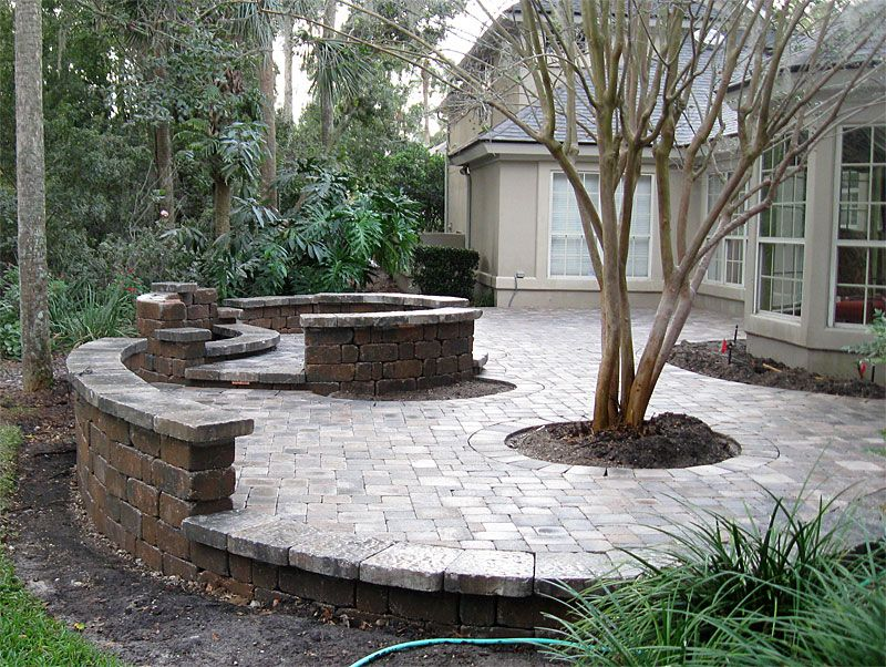 PATIO SEATING IDEAS | Brick Paver Patio, Custom Firepit, Retaining Wall, U0026  French