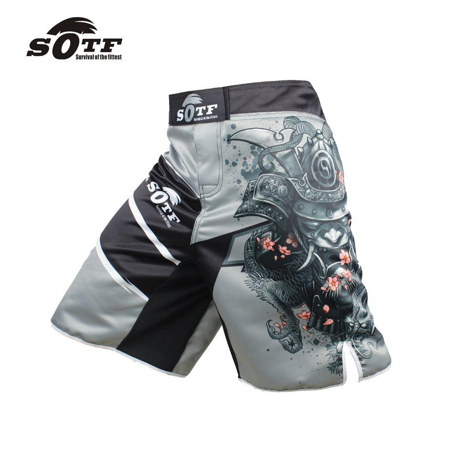 Kết quả hình ảnh cho SOTF Men's Gray Sports Pants Muay Thai Boxing Shorts MMA Shorts