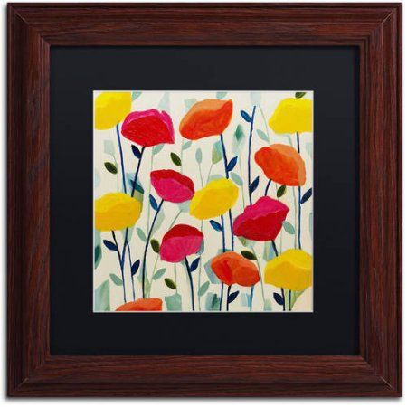 Trademark Fine Art Cheerful Poppies Canvas Art by Carrie Schmitt, Black Matte, Wood Frame, Multicolor