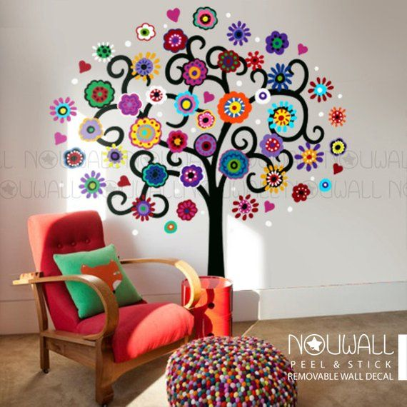 mexican flower tree wall decal playroom wall sticker girls room wall