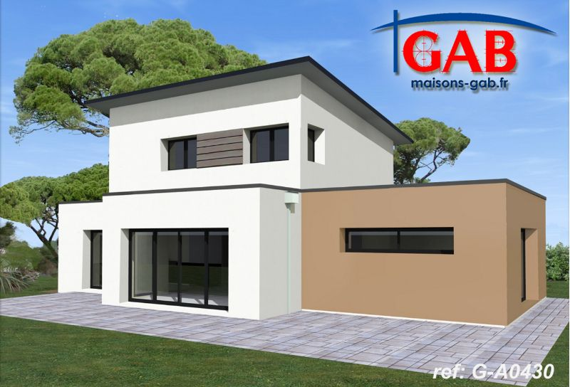 Maison contemporaine tage a0430 gab constructeur for Constructeur maison moderne bretagne