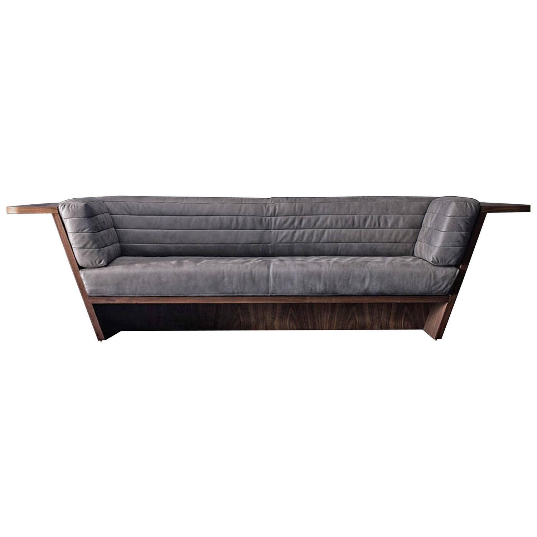 Racing Sofa With Grey Genuine Leather And Solid Walnut Wood Solid Walnut Walnut Wood Modern Leather Sofa