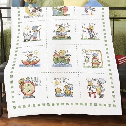 Herrschners® Nursery Rhymes Baby Quilt Top Stamped Cross-Stitch ... : stamped cross stitch baby quilts - Adamdwight.com