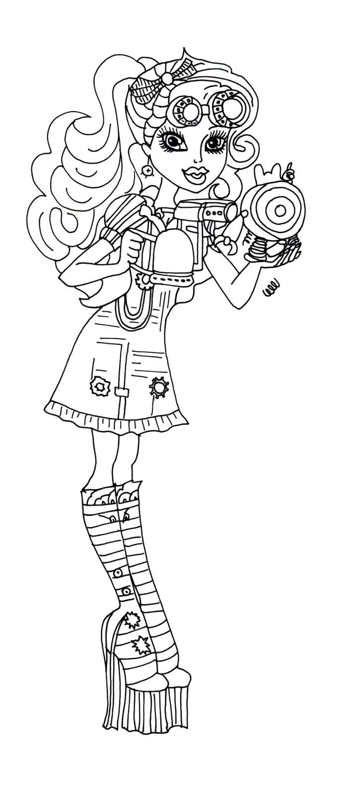 Monster High Robecca Steam Issuing Tools Coloring Page | Monster ...