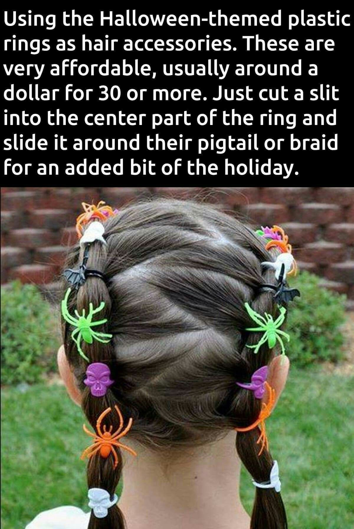 Halloween hair for girls using spider rings as decorations
