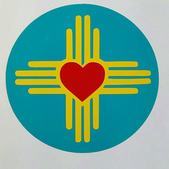 Multi Color Zia Symbol Heart Vinyl Decal Art Silhouettestencil